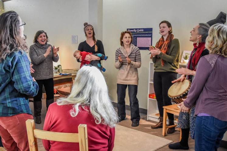 Singing group in Vesterheim Museum