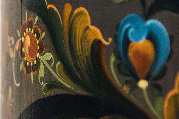 Detail of rosemaling from piece in Vesterheim's National Norwegian-American Folk Art Exhibition