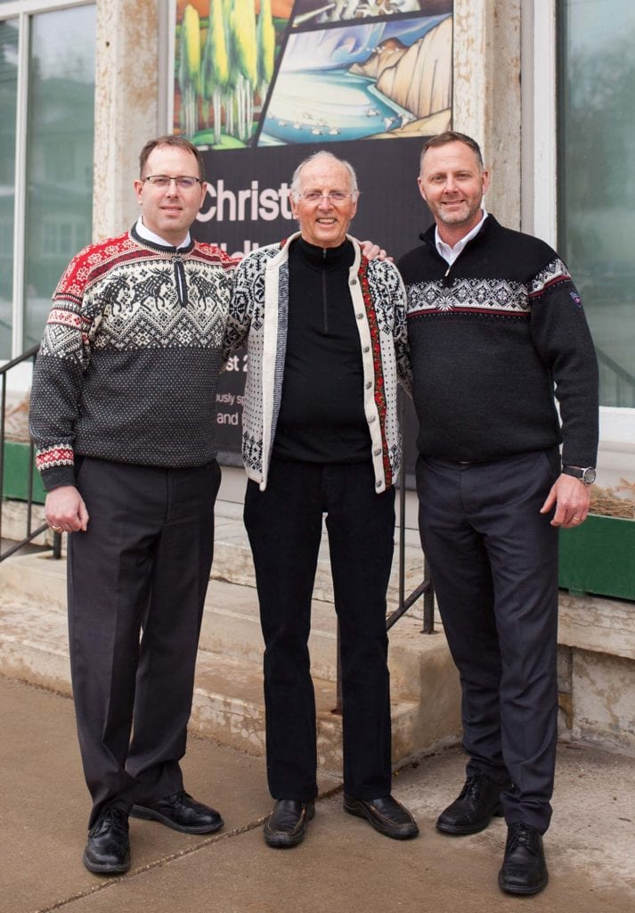 Owners of Decorah Bank & Trust Company, Larry Grimstad (center) and his sons Ben and Joe, have been dedicated supporter of Vesterheim for many years.