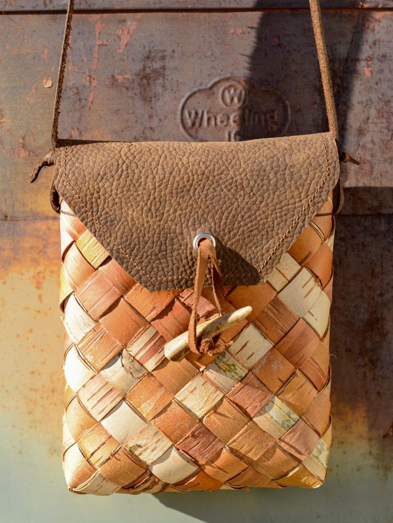 Birch bark pouch made by Vesterheim Folk Art School instructor Beth Homa Kraus
