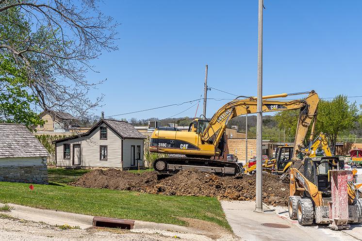 Construction work in Vesterheim's Heritage Park shows lots of dirt work.