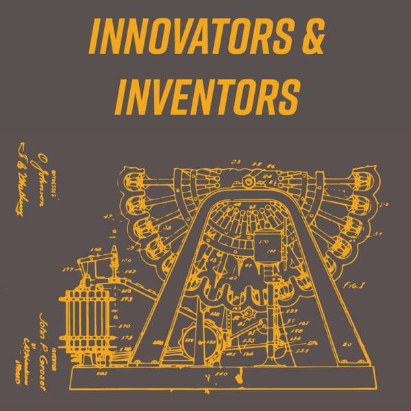 Innovators and Inventors exhibit logo - drawings for first ice cream making machine.