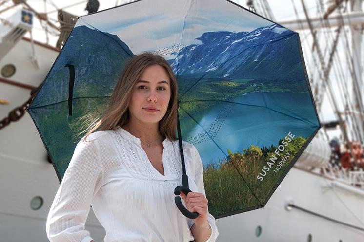 Woman holding Susan Fosse Umbrella