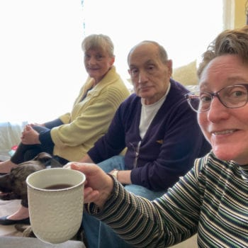 Family enjoys coffee