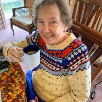 Woman enjoys coffee