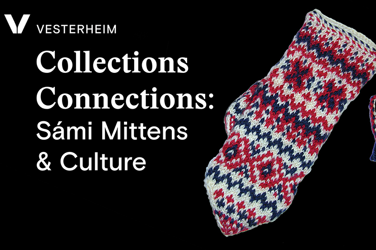 Knitted Sámi mitten and program title