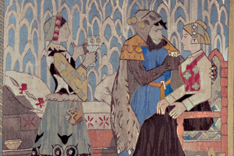 Little Kjersti tapestry designed by Gerhard Munthe, Vesterheim