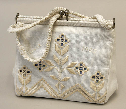 Purse with Hardanger embroidery in Vesterheim collection from Grace Rikansrud.